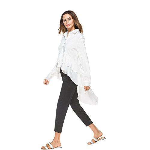 Color White queue manches manches d'aronde longues pour femmes longues Size L Irrgulire Black NEW Chemise nRx6ZZ