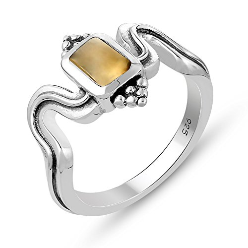 Ring Genuine Stone (Genuine Gemstone .925 Sterling Silver Citrine Ring)