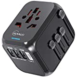 Travel Adapter, CHUNNUO Universal International Power Adapter, Worldwide All in One AC Outlet Power Plug Adapter 3 USB + 1 Type C Charging Ports for USA UK AUS European 200 Countries