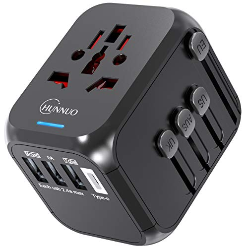 (Travel Adapter, CHUNNUO Universal International Power Adapter, Worldwide All in One AC Outlet Power Plug Adapter 3 USB + 1 Type C Charging Ports for USA UK AUS European 200 Countries)