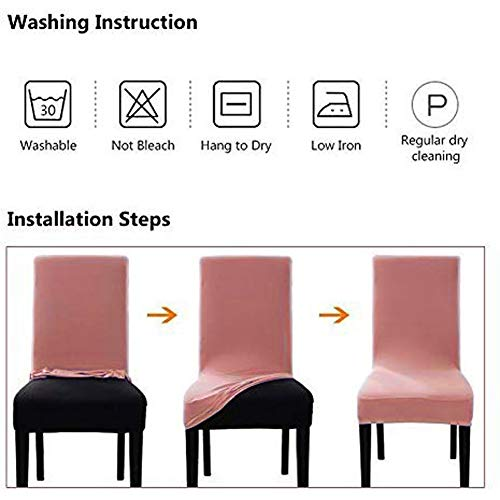 Umineux Stretch Dining Chair Covers, Printed Dining Chair Slipcovers, Removable Washable Spandex Short Chair Seat Protector for Dining Room, Hotel, Party (4 Per Set, Baroque)
