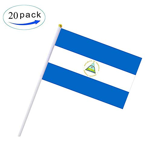DFLIVE 20 Pack Nicaragua Hand Held Flag 5'' x 8'' Nicaragua Stick Flag Polyester Country Flags Banner,Desk Outside Waving Parade Hand 5inch x 8inch Mini Small Size Flag for Festival Events Celebration