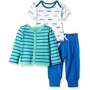 Amazon Essentials Boys' Infant Cotton Cardigan, Pants, Bodysuit Outfit Sets