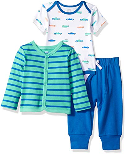 (Amazon Essentials Baby Boys 3-Piece Cardigan Set, Car, Preemie)