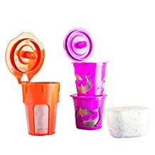 Chez Café Premium Reusable K-Carafe & K-Cup Coffee Filter Pod Combo for Keurig 2.0, K200, K 300, K 400 & K500 Series w/ Activated Charcoal Water Filter Cartridge (4, Purple & Orange) by Chez Café