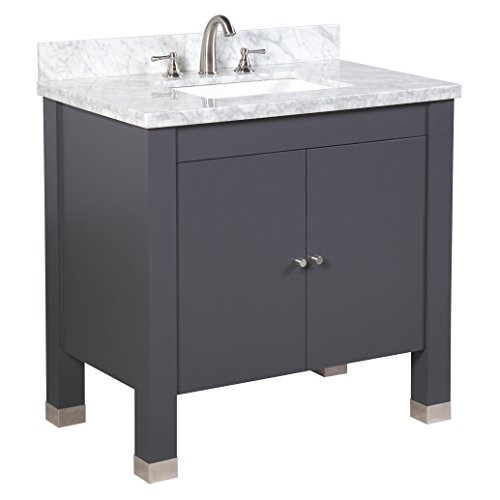 "KBC Kitchen Bath Collection KBC9936GYCARR Riley Bathroom Vanity with Marble Countertop, Cabinet with Soft Close Function & Undermount Ceramic Sink, 36"", Carrara/Charcoal Gray"