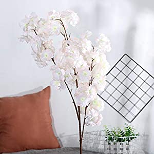 Fine Artificial Silk Fake Flowers Pear Blossom Floral Wedding Bouquet Party Decor Ultra-Compact Artificial Flower (D) 90