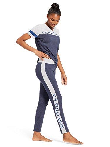 U.S. Polo Assn. Womens Short Sleeve V-Neck Color Block Shirt Pants Pajama Sleep Set Navy Heather Small (Shirt Pants Pajamas)