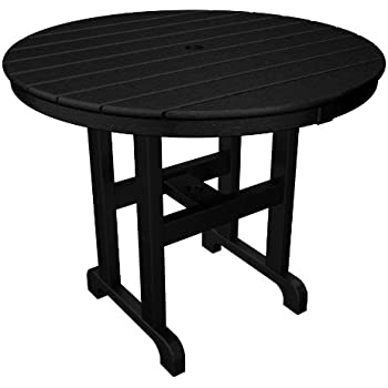 POLYWOOD RT236BL Round Dining Table, 36 Inch, Black