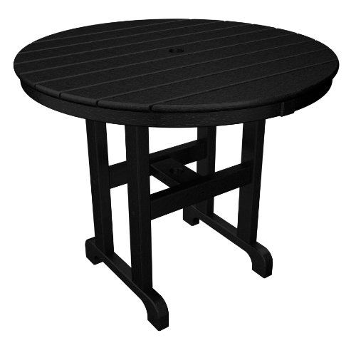 POLYWOOD RT236BL Round Dining Table, 36-Inch, Black