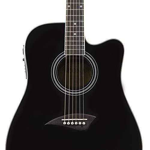 (Kona K1EBK Acoustic Electric Dreadnought Cutaway Guitar in High Gloss Black)