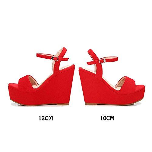 KJJDE y Correas Súper Cuña Tacones Mujer Chanclas red Tobillo 12cm de Sandalias Verano Gamuza Sandalias HS009 XXYY rqrPHfx1
