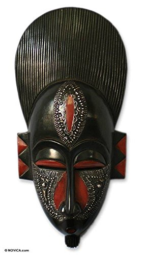 (NOVICA Black and Red Handcrafted Ghanaian Wood Wall Mask, in)