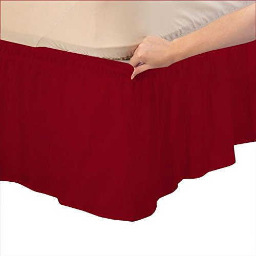 (Threads Collection 600 TC - Wrinkle & Fade Resistant - Egyptian Quality Three Fabric Sides Easy On/Easy Off Wrap Around Elastic Bed Skirt Crib Baby (28
