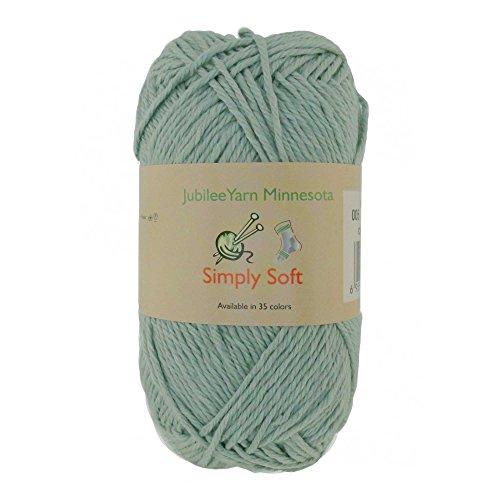 Light Weight Simply Soft Yarn 100g - 4 Skeins - 50% Cotton 50% Polyestser - Minty Green - Color (Baby Pom Pom Yarn)
