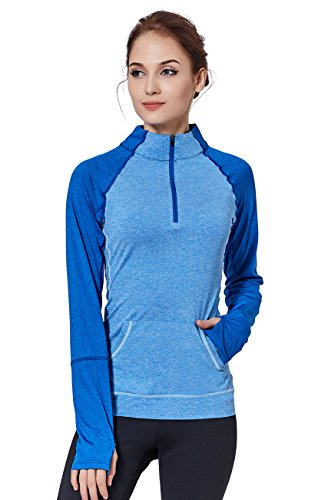 (HonourSport Women Running Shirts Yoga Compression Sweatshirts Blue L)