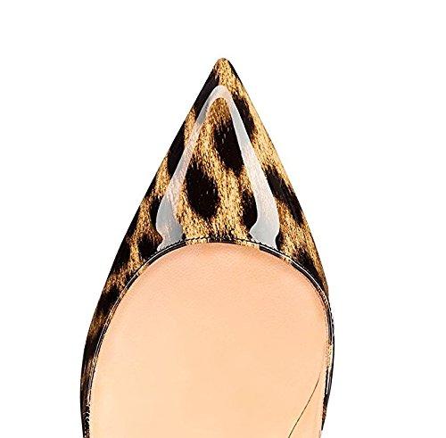 Leopardo Alto Ufficio Tacco Classico Stiletto Sera Pompe Aguzza Da Punta Sammitop Scarpe Delle Donne 8pxO76qH