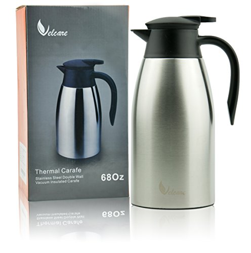 Thermal Carafe 68Oz Stainless Steel Double Walled Insulated Vacuum Thermos with Lid for Coffee Tea By (Double Walled Carafe)