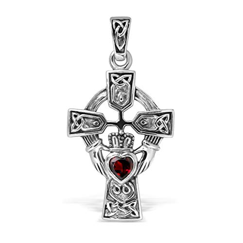 WithLoveSilver Sterling Silver 925 Celtic Cross and Claddagh Natural Garnet Heart Pendant ()