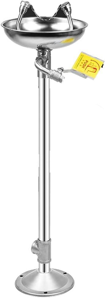 GLJ estación de Lavado de Ojos Lavaojos de Acero Inoxidable 304, Lavaojos de Emergencia de Tipo Vertical Agua de Flujo Suave Boquilla Doble para El Químico de La Central Eléctrica de La Fábrica