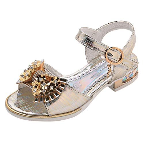 TOOPOOT Baby Summer Sandals, Toddler Infant Girls Sequins Crystal Princess Beach Shoes for 4-12Years Gold