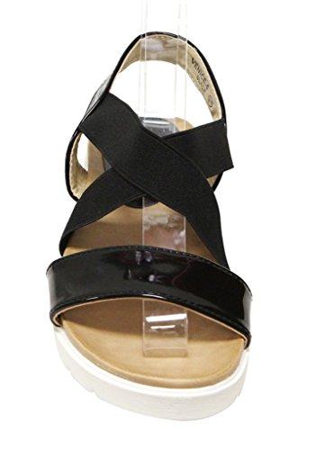 Bella Marie Venice-8 Damesschoenen Met Open Teen Slingback Comfortzool Elastische Kruising Boven Patent Sandalen Zwart