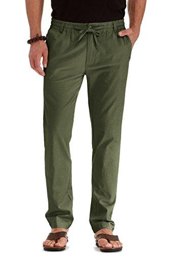 Mr.Zhang Men's Drawstring Casual Beach Trousers Linen Summer Pants Army Green-US ()