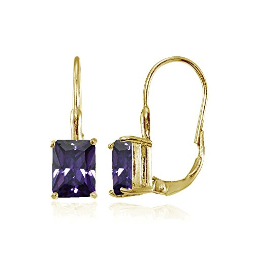 Yellow Gold Flashed Sterling Silver Purple Cubic Zirconia Emerald-Cut Leverback Earrings ()