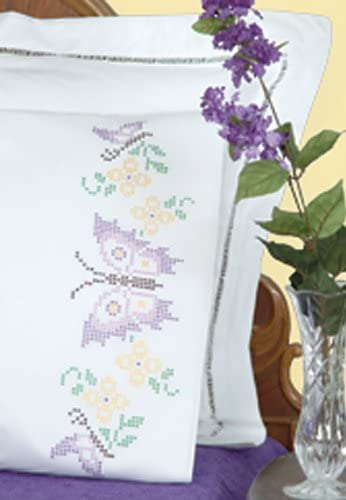 Jack Dempsey Stamped Pillowcases W//White Lace Edge 2//Pkg-XX Butterflies