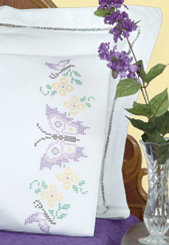 Stamped Pillowcases W/White Perle Edge 2/Pkg-Xx Butterflies