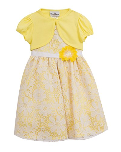 Rare Editions Girls' Little Lace Easter Dress with Cardigan, Yellow/White, ()