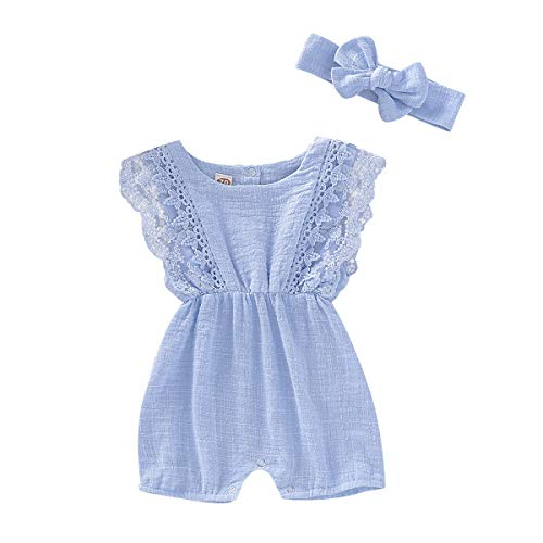 - YOUNGER TREE Newborn Baby Girl Ruffle Romper Lace Sleeveless Bodysuits Bowknot Tassels Jumpsuit Sunsuits Summer Outfits (Blue, 12-18 Months)