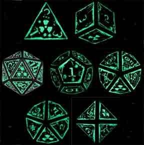 Q-Workshop Polyhedral 7-Die Set: Carved Nuke Dice Set - Fluorescent & Black (Glow in the Dark) - OOP by Q Workshop