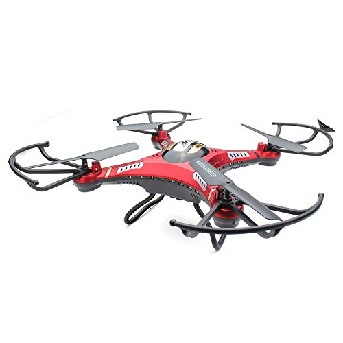 Klions JJRC H8D WiFi FPV RC Drone 6-Axis Gyro Quadcopter with 2.4GHz 4CH 0.3MP HD Camera,LED Lamb,One Key Return,Headless,360° Rolling,Black+2 Pcs Battery