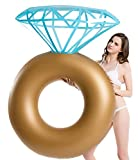 Jasonwell Inflatable Diamond Ring Pool Float - Engagement Ring Bachelorette Party Float Stagette Swimming Tube Floaty Outdoor Water Lounge for Adults & Kids