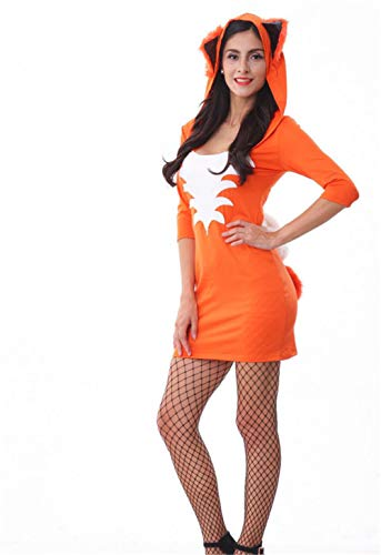 Sexy Women's Cosplay Costume Adult Fox Animal Hooded Dress Halloween Novelty Christmas Party Funny Fancy Show Piece Outfit Pajamas Orange