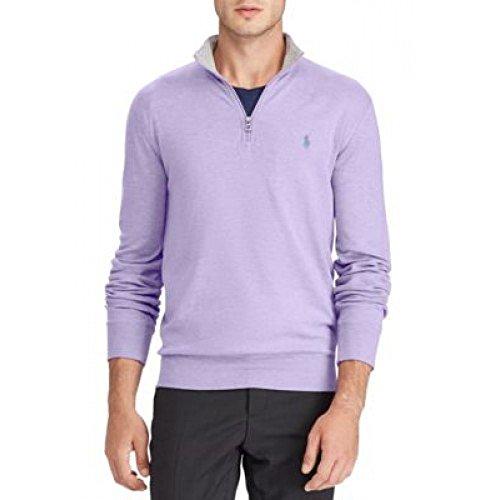 RALPH LAUREN Polo Men's Luxury Jersey Half Zip Pullover Sweater (Purple, Large) Shell Half Zip Mens Pullover
