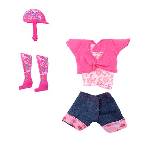 Prettyia Fashion Doll Clothing Accessories False Two-piece Jeans PantsClothing Helmet and Boots Suits for Barbie Dolls Monster High Doll