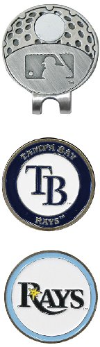 Team Golf MLB Tampa Bay Rays Golf Cap Clip with 2 Removable Double-Sided Enamel Magnetic Ball Markers, Attaches Easily to Hats