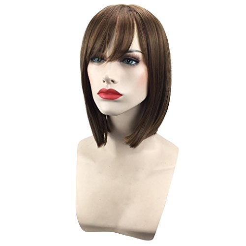 [Bob Style Wig Women's Short Straight Full Hair Wigs Cosplay Party Neat Bangs (C)] (Colonial Sailor Costumes)
