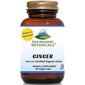 Ginger Capsules - 90 Kosher Vegetarian Caps - Now with 1000mg Certified Organic Ginger Root Powder by Pure Mountain Botanicals