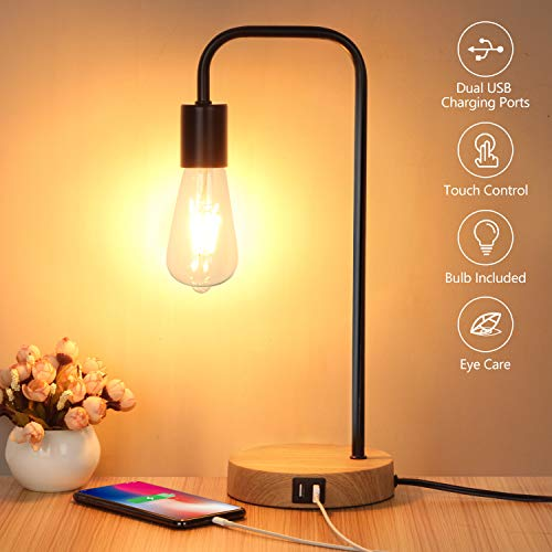 Light Night Lamp Table Base (Touch Control Table Lamp, USB Desk Lamp, 3 Way Dimmable Modern Nightstand Lamp with Two USB Charging Ports for Bedroom, Living Room, Office, Dimmable Vintage 6W ST64 E26 LED Bulb Included)
