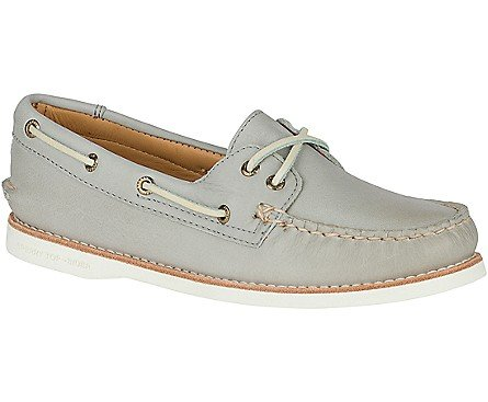 Leather Lambskin Platforms (Sperry Men's Gold Cup Light Grey Leather Welt Boat Shoe - 9.5 B(M) US)