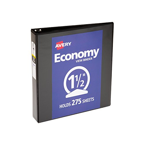 Avery Economy View Binder, with 1.5 Inch Round Ring, Black, - Inch 1.5 Binder