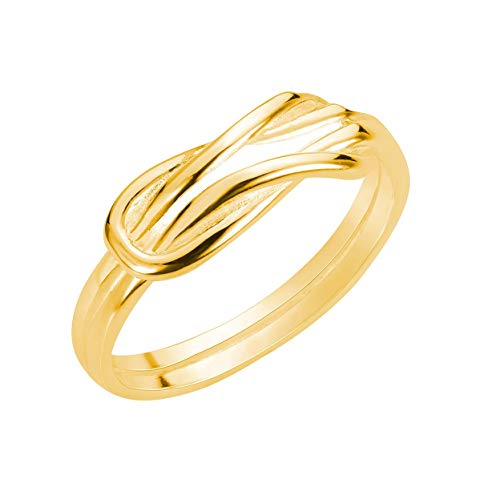 CloseoutWarehouse Yellow Gold-Tone Plated Sterling Silver Infinity Promise Knot Ring Size - Knot Tone Gold Love