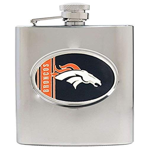 NFL 6 Oz Stainless Steel Hip Flask NFL Team: Denver Broncos