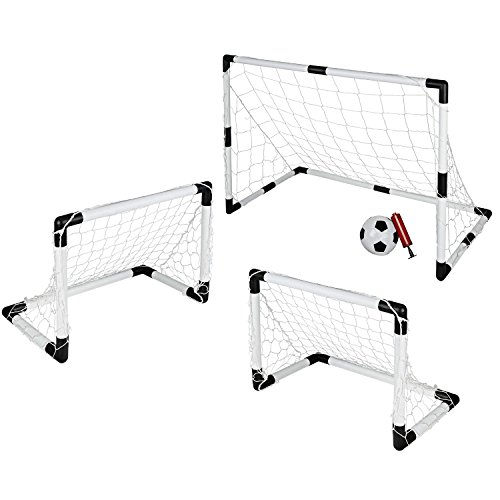 Portable Soccer Goal Set, Large and Small, Comes with Soccer Ball and (Indoor Soccer Goalie)