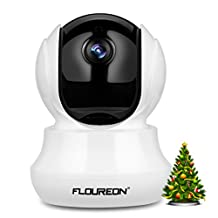FLOUREON 720P HD Wireless Security Camera Wifi Home Surveillance IP Camera Indoor Baby Monitor with Motion Detection Email Alarm Function Support Night Vision Pan/Tilt Two Way Talk (white 1)
