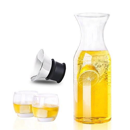Hiware 35 oz cristal jarra antigoteo con acero inoxidable y silicona con tapa de cristal - Jarra de agua de cristal jarra para el frigorífico Ice Tea Maker: ...