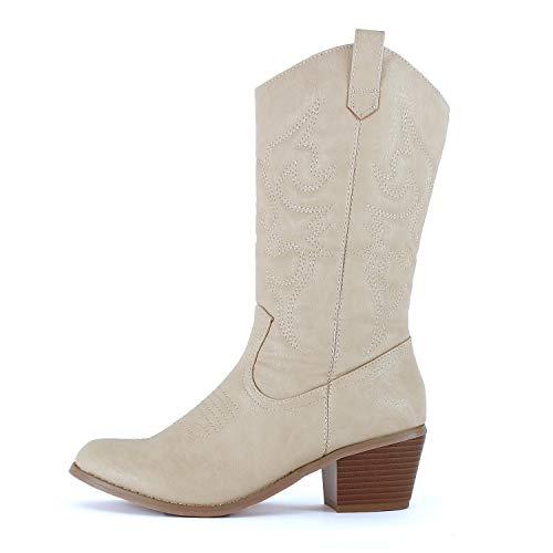 West Blvd Miami Cowboy Western Boots Boots, Beige Pu, 8 (B) M US